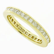 18k Yellow Gold Eternity Band Ring For Women 2.25ctw Natural Princess Diamond