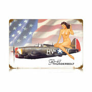 Vintage Style Metal Sign Aviation P-47 Nude 18 X 12
