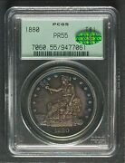 1880 Trade Dollar Pcgs Pr55 + Cac Nicely Toned Better Looking Than Grade