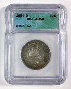 1854-o 50andcent Seated Liberty Half Dollar With Arrows Andndashandnbspicg Au 50