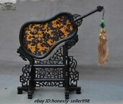 Collect Rare Old Chinese Palace Rosewood Wood Belle Girl Palm-leaf Fan Screen