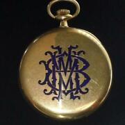 Antique Haas Neveux And Co. 18k Gold Slim Enamel Pocket Watch For Wright And Kay