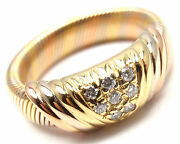 Rare Authentic 18k Tri-color Gold Diamond Band Ring Size 50 Us 5 1/4