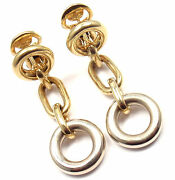 Rare Authentic Pomellato 18k Yellow And White Gold Drop Link Earrings