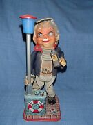1950s Vintage Drinking Captain Battery Operated Tin Toy Belly Lights Up Red