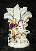 Antique Top Hat Man Horse Spaniel Dog Staffordshire Feather Fan Flair Spill Vase