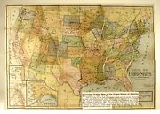 Rare Uncle Sam Map/puzzle Of United States»milton Bradley Ca1900»14x20«very Good