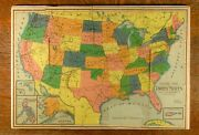 Dissected Outline Map/puzzle Of The United States,1800s»milton Bradley»vg / Fine