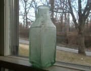 1860s Crude Square Pickle Bottle With Raised Square Panels Crude Applied Lip