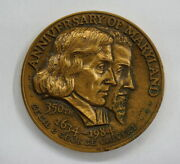 Anniversary Of Maryland 350th 1634-1984 Cecil And George Calvert Coin Bronze Mint