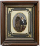 Antique Tintype Pennellography Hand Painted In Fine East Lake Walnut Frame C1870
