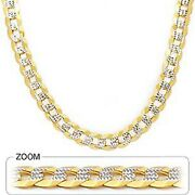 9.60mm 22 65.00gm 14k Yellow Gold Cuban White Pave Menand039s Chain Polish Necklace