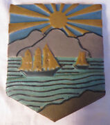 Unusual Antique Rookwood Faience Pottery Arts And Crafts Ship Tile