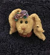 Darling Pin By Boyd's Bears And Friends Brown Easter Bunny Face With Flowers