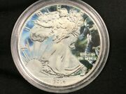 2014 1 Oz Ounce Silver American Eagle .999 Glow In Dark Astronaut Colorized Coin
