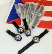 Lot Of 12 Pcs-puerto Rico Flag Watches And Adjustable Black Silicone Band