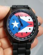 Lot Of 6 Pcs-puerto Rico Flag Watches And Adjustable Black Silicone Band