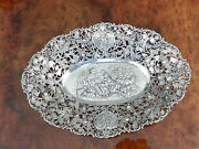 Antique 800 German Cheruband039s And Roseand039s Large 15.5 Inch Reticulated Bowl