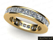 Genuine 3.40ct Princess Diamond Channel Eternity Band Ring 18k Yellow Gold H Si2