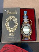 Vintage 1975 Jim Beam Gold Whisky Decanter With Mirror 180 Month Orig. Box 20