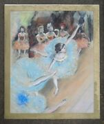 Fine Hand Painted Pastel Watercolor On Paper Swaying Dancers Signed Degas