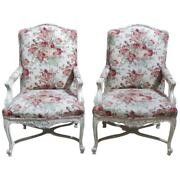 Pair Louis Xvi Style Distressed Cream Painted Fauteuils Bergere Lounge Chairs