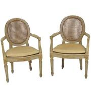 Pair Antique Louis Xvi Style Painted And Cane Back Fauteuils Arm Dining Chairs