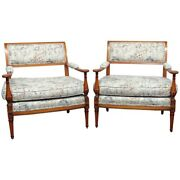 Pair Louis Xvi Style Marquis Club Lounge Parlor Chairs Attributed Grosfeld House