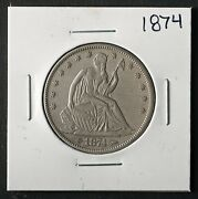 1874 Seated Liberty Half Dollar Nice Philadelphia Mint 50andcent Cent Silver Coin