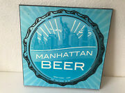 Manhattan Beer Ny Hanging Decor Sign Wall Plaque Wood Wooden Teal Blue 12