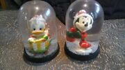 Vintage Walt Disney 1 Donald Duck And 1 Mickey Mouse Snow Globes