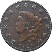1821 1c Coronet Large Cent - Lowest Recorded Mintage Of All Coronet Large Cents