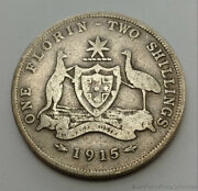 Rare 1915 Australia 1 One Florin 2 Two Shillings .925 Sterling Silver Coin
