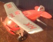 1954 Airplane Rollover Made In Us Zone Germany Wind Up Tin Toy Plane Vintage 546