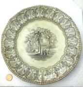 Antique Staffordshire Creamware Plate Yale College New Haven Connecticut 1830s