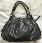 Coach Madison Mia Maggie Gray Patent Leather Shoulder Bag Purse 15734-nice