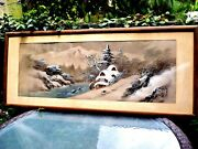Antique 19c Chinese H/painted On Silk Winter Landscape Painting Signed