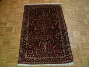 3and0395 X 5and0392 Hand Knotted Red Antique Persian Sarouk Oriental Rug G1921