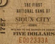 Sioux City Iowa Ia 1929 T1 5.00 Ch. 1757 The First National Bank
