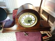 Vintage Newhaven Trademark Mantle Wind-up Pendulum Clock For Repair Or Parts