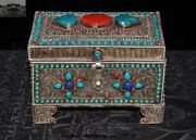 Old Tibet Temple Silver Filigree Inlay Turquoise Coral Lazuli Jewelry Box Boxes