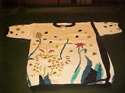Vintage Ladies Beautiful Beige Knit Sweater With Cat And Floral Design Last One M.