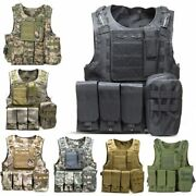 Mens Tactical Vest Military Combat Molle Carrier Hunting Fighting Load Camo Vest