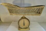 Antique John Chatillon And Sons Infant Baby Wicker Basket Scale 1940's