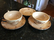 Franciscan Cafe Royal Set Of 2 Flat Cups And Saucers + 1 Extra Saucer