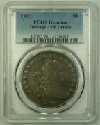1802 Draped Bust Silver Dollar Coin 1 Pcgs Genuine Vf Details