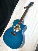 Luna Fauna Dragonfly Quilt Maple Acoustic Electric Guitar New Trans Teal Blue