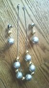 Vintage Silver/gold Floating Beaded Necklace And Earrings Costume Jewelry Set