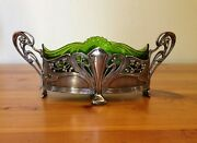 Wmf=art Nouveau=silver Plated Centrepiece=green Glass Liner=1880-1903=germany.