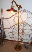 Fabulous Art Deco Brass Upcycled Bridge Lamp W/ Marble Insets 60 Tall